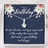 Happy Birthday gift for her Birthday jewelry necklace with zircon White Gold  SO