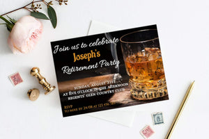 Black and gold elegant  Retirement Party Invitation Man's  Retirement Invite - You Can Print