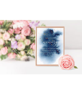 Blue Watercolor Loving Memory Wedding Memory Table Sign Printable , BW - You Can Print