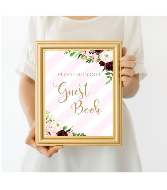 Blush Pink Floral Guestbook Sign, Printable Guest Book Sign, PS - You Can Print