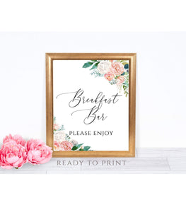 Breakfast Bar Sign Instant Download Floral 8x10 The Day After Sign,Breakfast Bar, PB - You Can Print