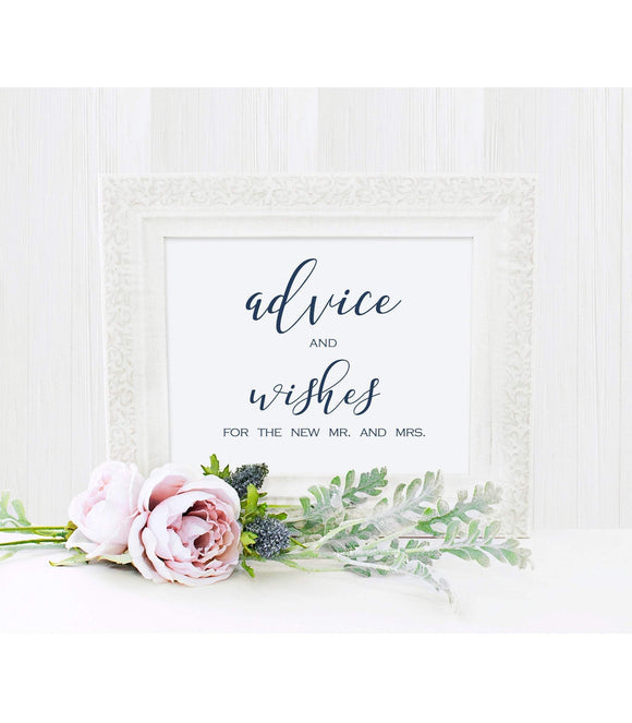 bridal Shower Signs, Well Wishes Sign Navy Blue, Wedding Reception Signs, BB - You Can Print