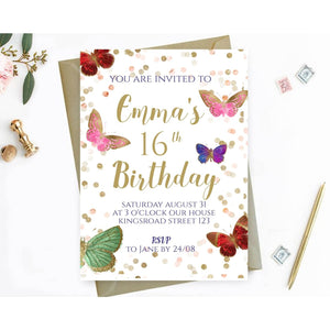 Butterfly 16th Birthday Party Invitation, Printable Birthday Invitation Template - You Can Print
