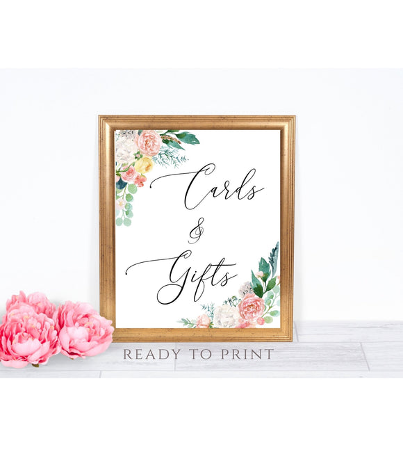Cards and Gifts printable Wedding Card and Gift sign Peach Blush party favors  PB - You Can Print