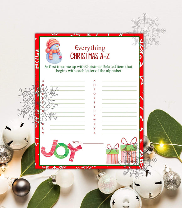 Christmas A-Z Game printable Christmas Family Game digital Funs Christmas , CHG, PG - You Can Print