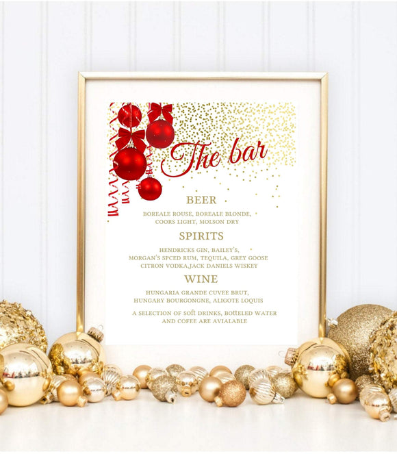 Christmas Bar Menu, Printable Bar Menu Template, Christmas Sign, Bar Sign, K1 - You Can Print