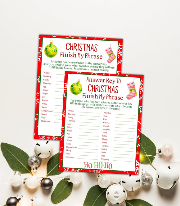 Christmas Finish My Phrase Game DIY Holiday Party Game Printable Christmas, CHG, PG - You Can Print