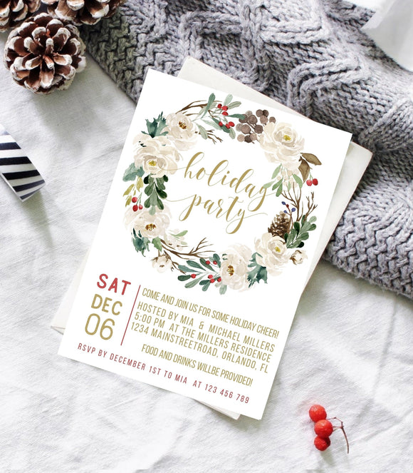 Christmas Invitation Template•Holiday Party Card 5x7,4x6• Holiday Wreath - You Can Print