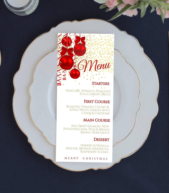 Christmas Menu, Christmas Menu Card, 4x9, Instant Download, Edit with Corjl, K1 - You Can Print