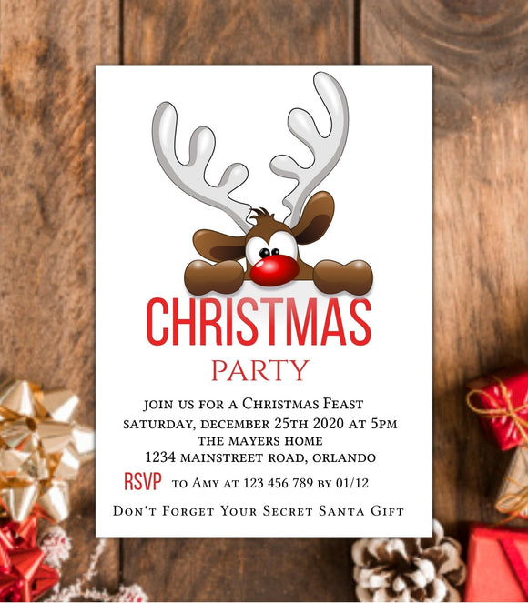 Christmas Party Invitation,Editable Christmas Template,Reindeer Holiday invitation, MC - You Can Print