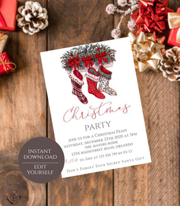 Christmas Party Invitation, Editable Invite Template, Classic Holiday invitation - You Can Print