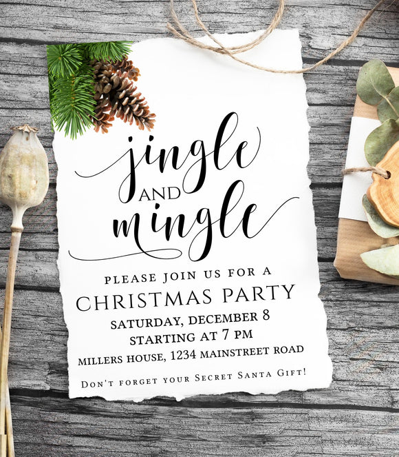 Christmas Party Invitation Holiday Party Invitation, Christmas Party Invite, JM - You Can Print