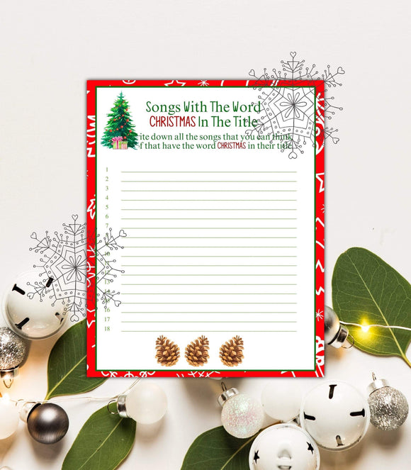 Christmas party songs Game printable Christmas Song Game digital wedding CHG,PG - You Can Print
