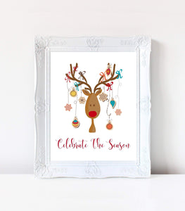 Christmas Print, Winter print, Christmas Wall Art, Funny Christmas Deer Print, FD CHD - You Can Print
