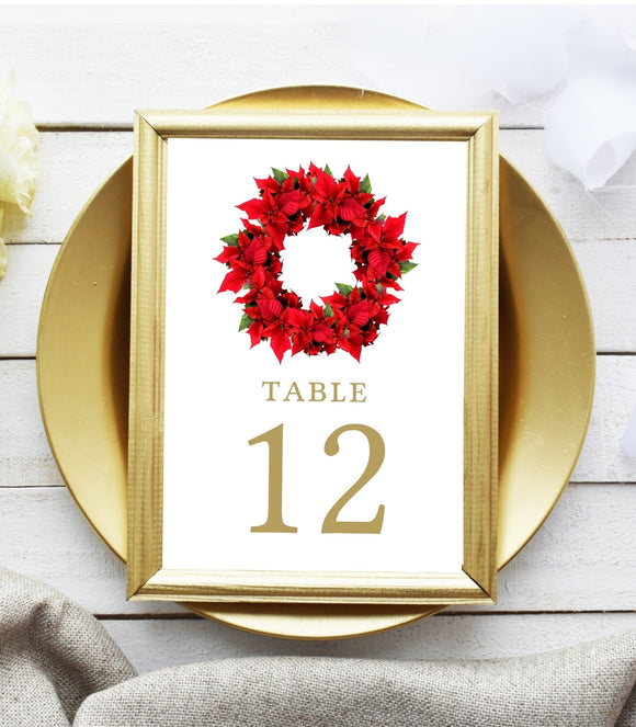 Christmas Table Numbers,printable Table Numbers template,Classic Red Christmas - You Can Print