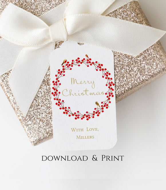 Christmas tag Christmas Wreath Tag Template Rustic Christmas Gift Tag Printable  GT - You Can Print