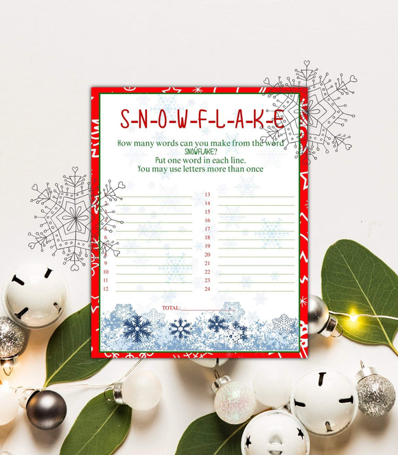 Christmas Word Game Snowflake Instant Download game wedding Printable, CHG, PG - You Can Print