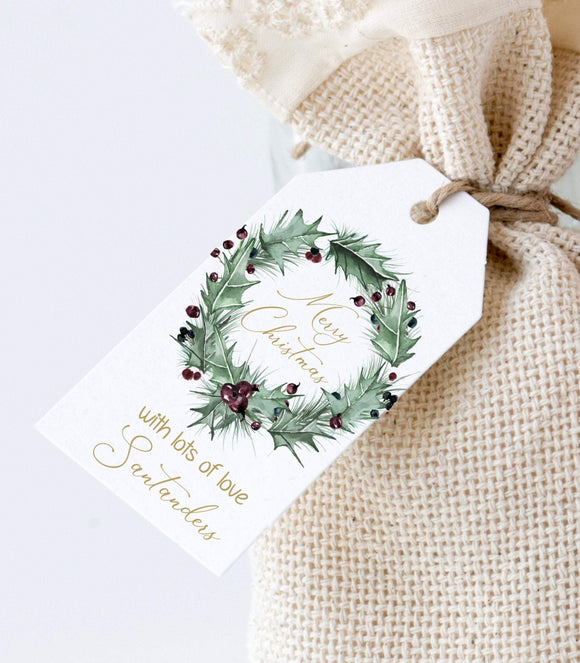 Christmas Wreath Tag Template Rustic Christmas Gift Tag Printable Personalized GT - You Can Print