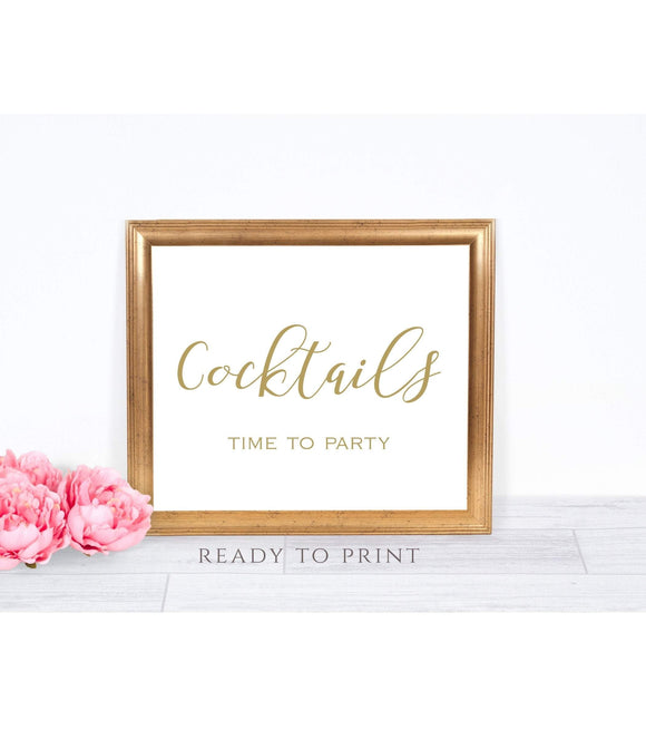 Cocktails time party instant download party Cocktails printable Cocktails Bar Sign SHG - You Can Print