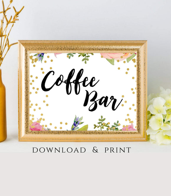 Coffee Bar printable Coffee Bar Decor instant download Open Bar Wedding FB - You Can Print