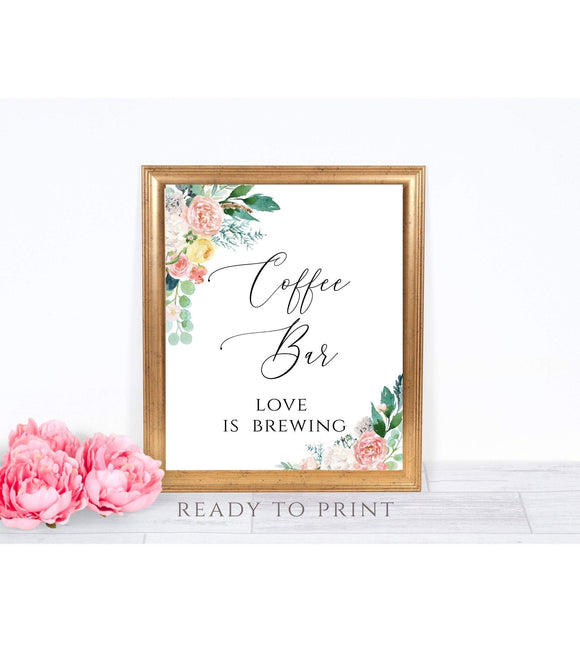 Coffee Bar Sign Printable, Coffee Bar Sign Wedding, Coffee Bar Print Download, PB - You Can Print
