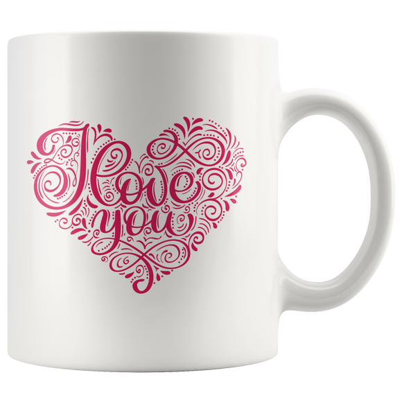 Coffee Mug With Heart - I Love You Mug - Gift Ideas - You Can Print