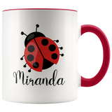 Custom Ladybug Breakfast Mug, Personalized Mug, Name Mug, Gift for Girl - You Can Print