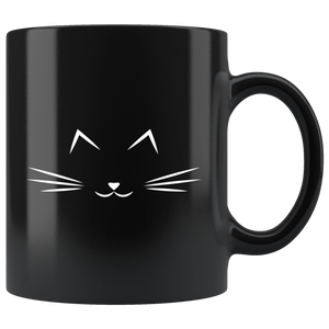 Cute Cat Face Mug Black Ceramic Breakfast Mug Pet Coffee Mugs, cat Lover Mug, Black Cat Gifts, Office Mugs,Cat Gifts - You Can Print