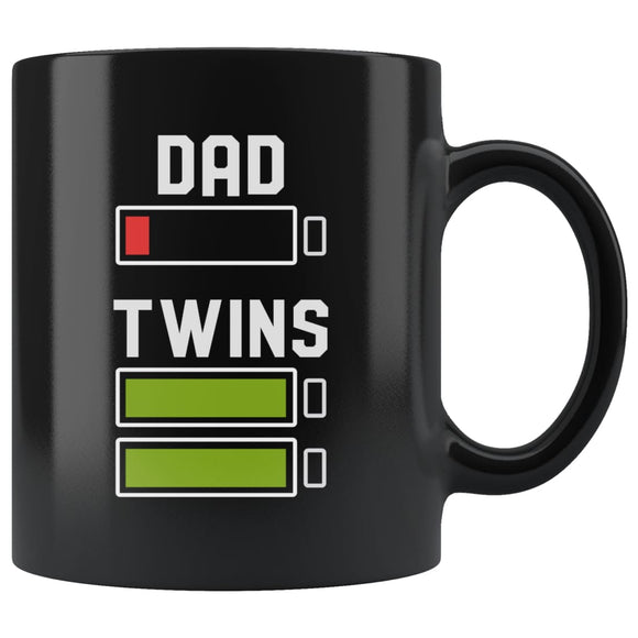Dad of Twins Gift Funny Mug For New Father Black Breakfast Mug Father's Day Gift - You Can Print