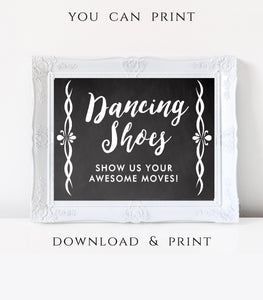 Dancing Shoes printable Wedding dance floor sign digital Wedding Dance sign 7x5, CH - You Can Print