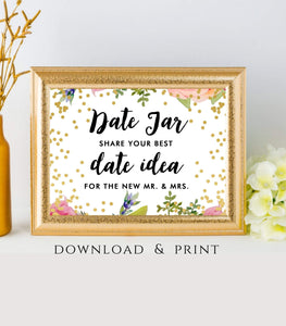 Date Jar Instant Download wedding date Jar printable decor Wedding Sign 7x5, FB - You Can Print
