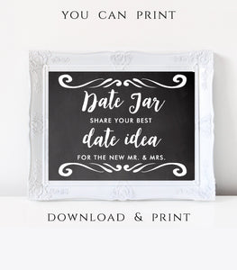 Date Jar Printable Wedding Date Idea printable Date Jar idea Instant Download, CH - You Can Print