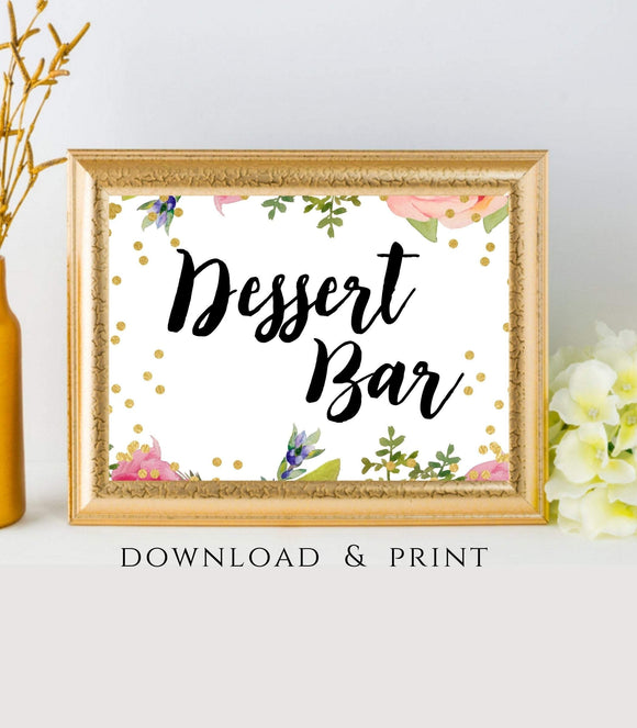 Dessert Bar Printable Dessert Table instant download Wedding Sign Dessert 7x5 FB - You Can Print