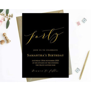 Digital 40th Birthday Invite, Fortieth Birthday, calligraphy,modern  simple minimalist - You Can Print