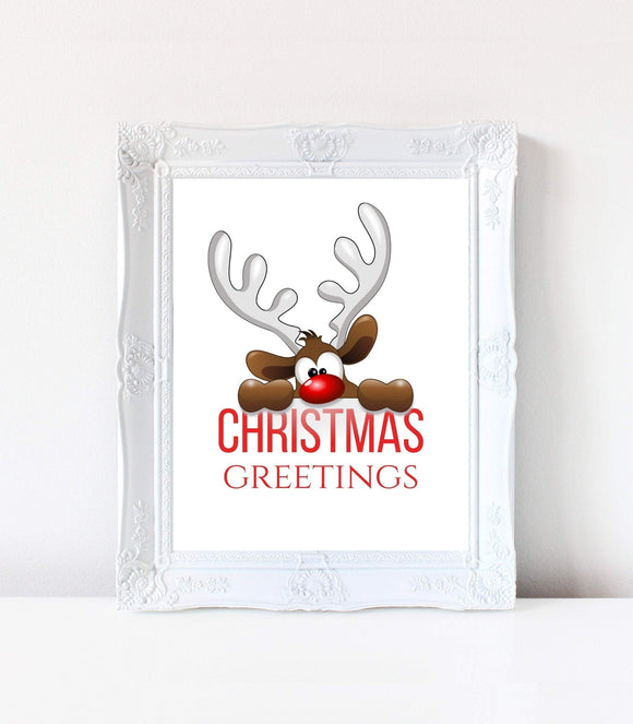DIGITAL Christmas party Funny Moose Printable card,Christmas Pdf 8x10 MC CHD - You Can Print