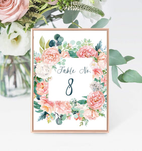 Digital Peach Blush Table Number Template,Printable Wedding Table number, PB - You Can Print