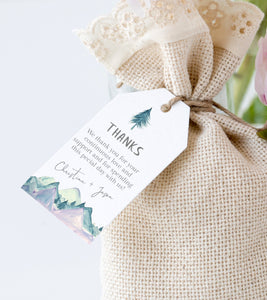 Digital Pine Favor Tag Template, Thank You Tag, Rustic Mountain Bridal Shower Tag - You Can Print