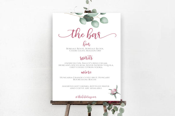 Digital Printable The Bar Menu 100% Editable Template Eucalyptus Peony, EP - You Can Print