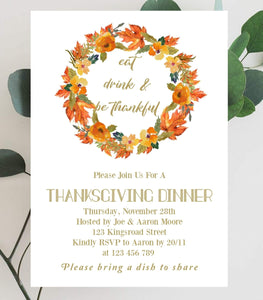 Digital Thanksgiving Dinner Electronic Invitation,Editable thanksgiving party invite - You Can Print