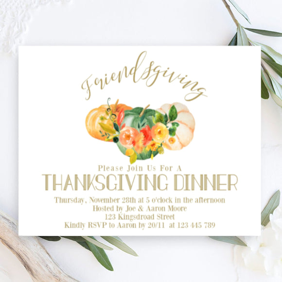 Digital Thanksgiving Dinner Invitation,Editable Thanksgiving Party evite, - You Can Print