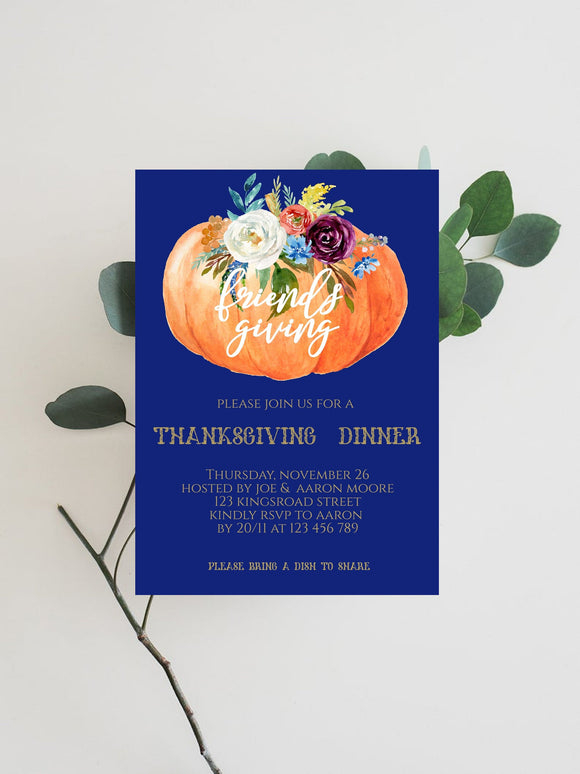 Digital Thanksgiving Invitation,Editable Thanksgiving party invitation, - You Can Print