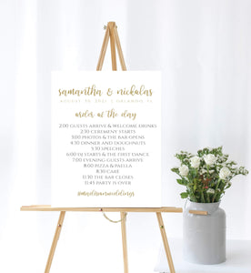 Digital Wedding Day Program Template,Printable Order of Day Sign Poster Size SHG - You Can Print