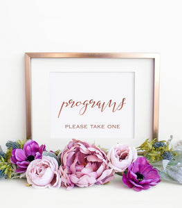 Digital Wedding Programs Sign Printable, Gold Calligraphy Sign Template, SHR - You Can Print