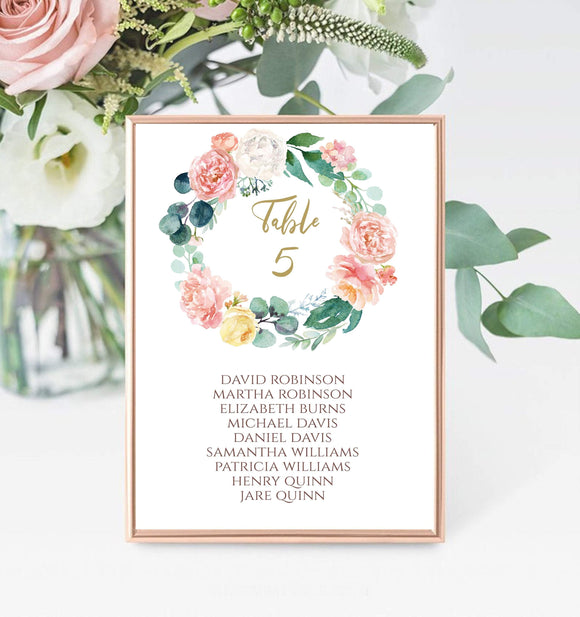 Digital Wedding Table Number Template,Instant Download table number, PB - You Can Print