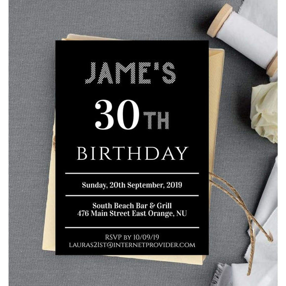 DIY Any Age Birthday Invitation Template Black & White Birthday Invitation - You Can Print