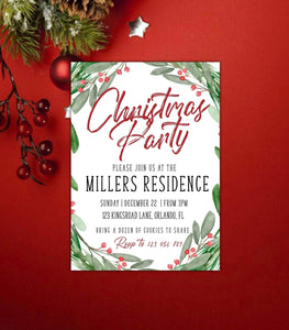 DIY Christmas Invitation Template,digital Christmas party download - You Can Print