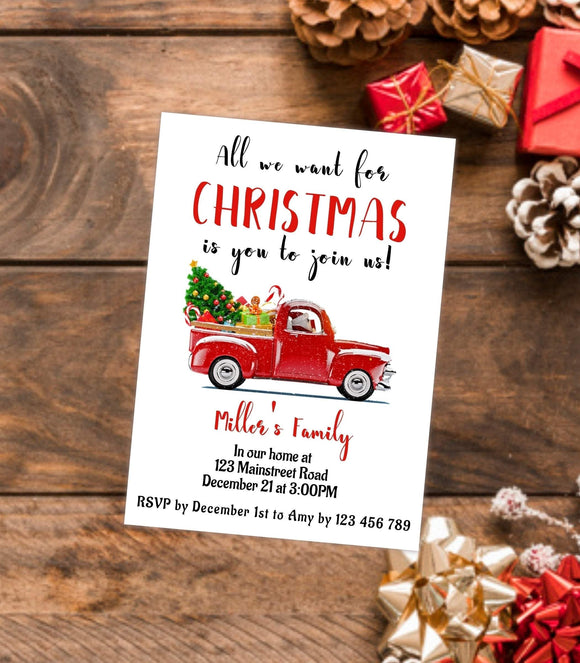 DIY Christmas Party Invitation, Printable Christmas Party Invitation - You Can Print
