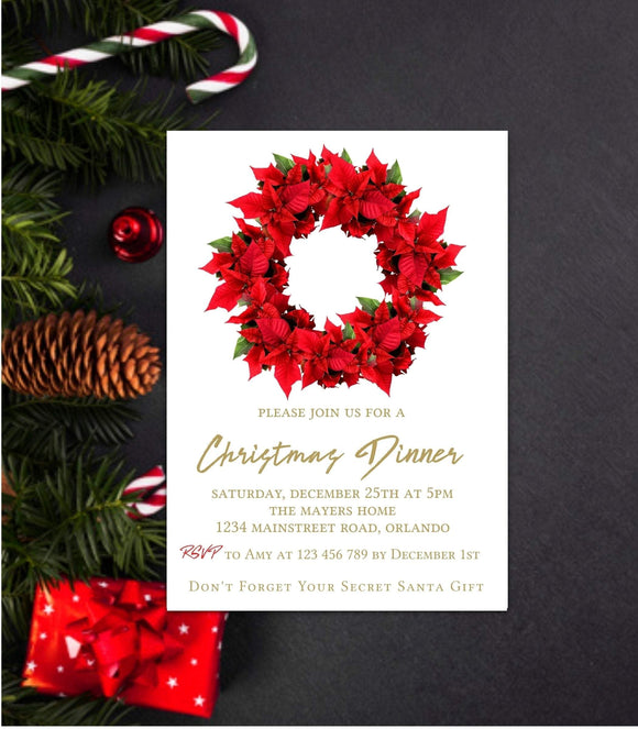 Editable Christmas party invitation Template Poinsettia Holiday Party Invitation - You Can Print