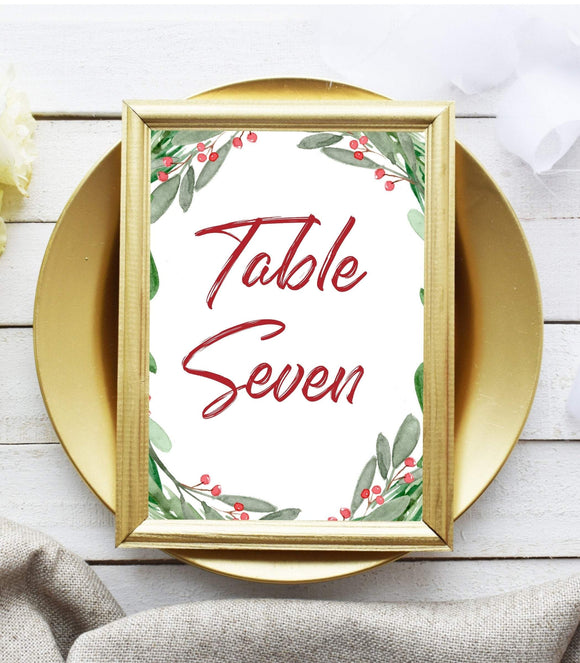 EDITABLE Christmas party Table Number Card,Winter party Table decor Printable - You Can Print