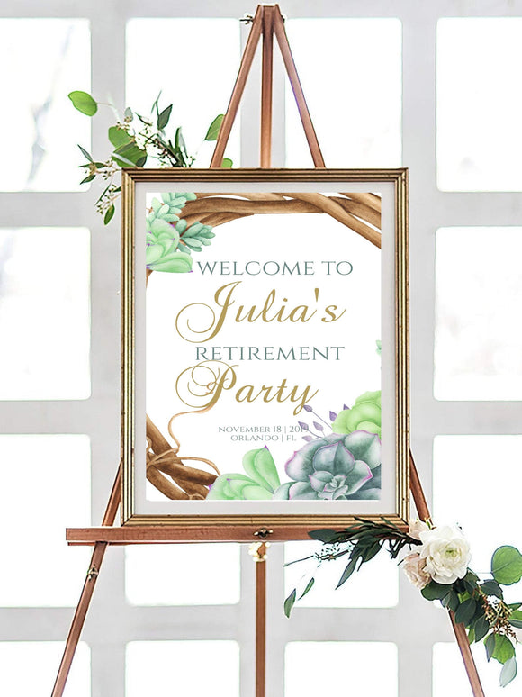 Editable Retirement Party Welcome Sign Template - Printable Retirement greenery - You Can Print